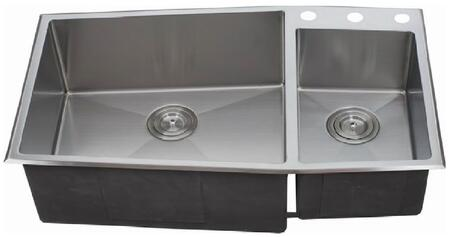 LIX-600 Sissa 33 1/2 inch  Double Bowl Undermount/Drop-in Kitchen Sink with Soundproofing System and Mounting Hardware in Stainless