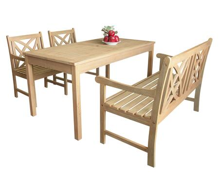 Beverly Collection V1701SET3 Outdoor Dining Set with Rectangular Table + 2 Armchairs + 1 48