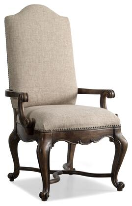 Rhapsody Series 5070-75500 49 inch  Traditional-Style Dining Room Upholstered Arm Chair with Cabriole Legs  Carved Detailing and Fabric Upholstery in