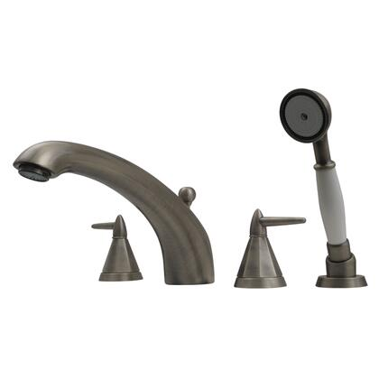 614453TFBN Blairhaus Monroe deck mount tub filler set with smooth arcing spout  octagon-shaped lever handles  smooth escutcheons  hand held shower with white