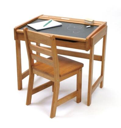 554P Desk with Chalkboard Top and Chair in Pecan