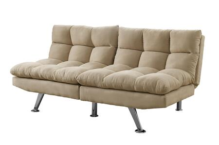 "I 8989 70"" Click Clack Futon with Split Back  Angled Chrome Legs and Micro-Suede Upholstery in Light"