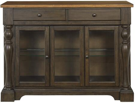 Dunmore Collection 10102 52 inch  Sideboard with 3 Glass Paneled Doors  2 Drawers  Turned Pilasters  Selected Hardwood and Veneer Materials in Brown