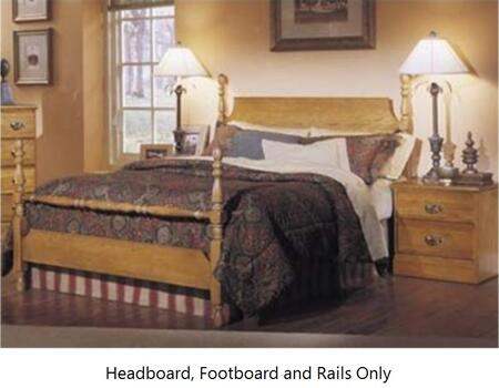Carolina Oak 237240-3-971500 63 inch  Full Sized Bed with Poster Headboard  Footboard and Metal Slat-less Rails in Golden