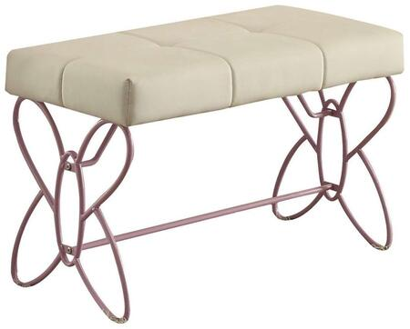 Priya II Collection 30542 32 inch  Bench with Butterfly Panel Design  Faux Leather Seat Upholstery  High Gloss and Metal Construction in White and Light Purple