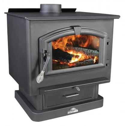 """2500 21"""" Log Length Large Wood Burning Stove with Large Viewing Window and Air Wash Glass in Metallic Black"""