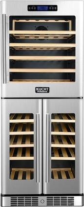 K280AVH33 24 inch  Professional Triple Zine Wine Cooler with 72 Bottle Capacity  Built-In Compressor  in Stainless