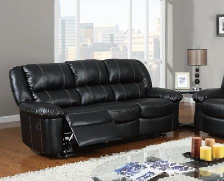 U9966-Black-S Bonded Leather Reclining Sofa  Plush Seats/Back/Arms  in