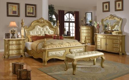 Lavish Lavishqdmcnb 7 Pc Bedroom Set With Queen Size Bed + Dresser + Mirror + Chest + 2 Nightstands + Bench In Gold