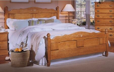 Carolina Oak 237850-982000-79091 63 inch  Full Sized Bed with Metal Frame and Panel Headboard in Golden