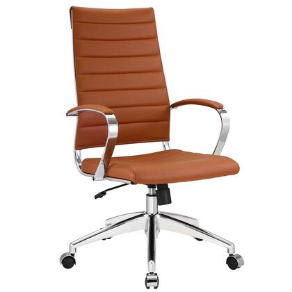 Jive Collection EEI-272-TER Office Chair with 5-Caster Dual Wheel Base  Padded Arms  Chrome-Plated Aluminum Frame  Tilt Lock Tension Control  Adjustable Height