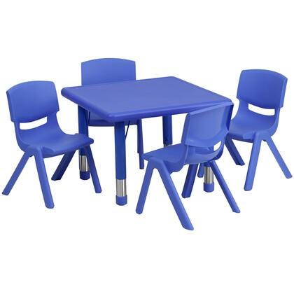 YU-YCX-0023-2-SQR-TBL-BLUE-E-GG 24'' Square Adjustable Blue Plastic Activity Table Set with 4 School Stack