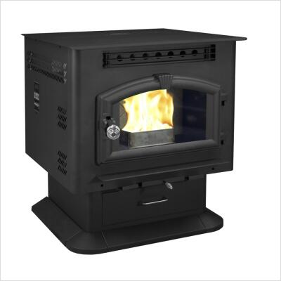 6041 60 lbs Hopper Capacity Multi Fuel Stove with Large Viewing Window Air Wash Glass and Igniter on