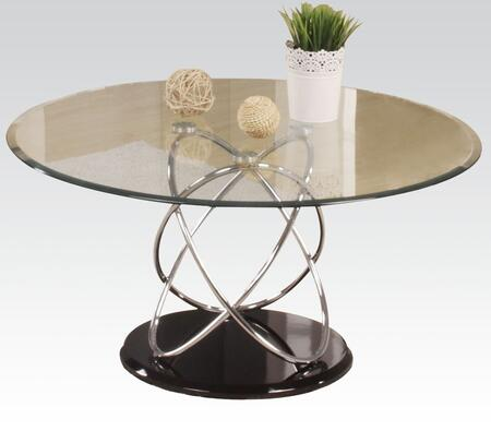 80795 Deron Coffee Table with 8mm Tempered Round Clear Glass Top  High Gloss Black MDF Base and Chrome Metal