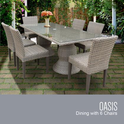 Oasis-rectangle-kit-6 Oasis Rectangular Outdoor Patio Dining Table With 6 Armless
