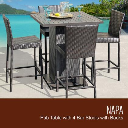 NAPA-PUB-WITHBACK-4 5-Piece Napa Pub Table Set Table and 4 Bar Stools with