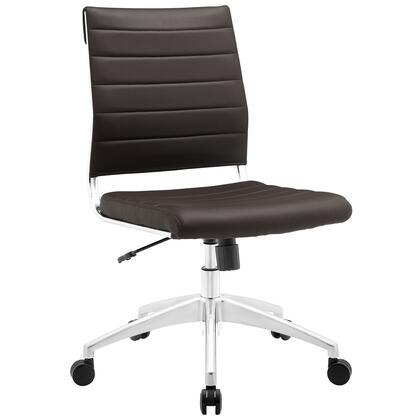 Jive Collection EEI-1525-BRN Armless Office Chair with 5-Caster Dual Wheel Base  Mid-Back Chrome-Plated Aluminum Frame  Tilt Lock Tension Control  Adjustable