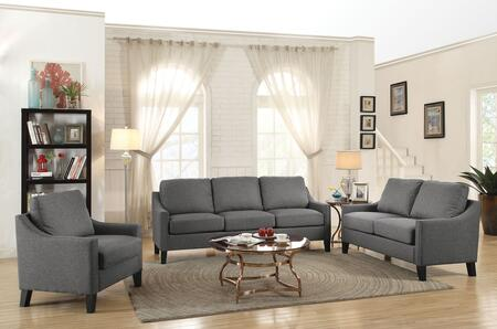 Zapata Collection 52500SET 3 PC Living Room Set with Sofa + Loveseat + Chair in Grey