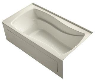 K-1229-RAW-47 66x36x20 Alcove Apron-Front Acrylic Soaking Bath Tub With Bask Heated Surface  Tile Flange And Right