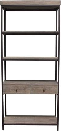 """Sequoia_Collection_SEQUOIASHGO_87""""_Bookcase_with_4_Shelving_Unit__2_Drawer_Shelf__Iron_Frame_Supports__and_MDF_Construction_in_Grey_Oak"""
