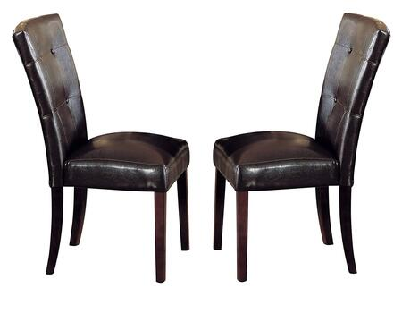 Britney Collection 07054 Set of 2 Side Chairs with Button Tufted Back  Box Seat Frame  Engineered Wood  Espresso PU Leather Upholstery and Tapered Legs in