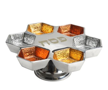 PT-532 Handmade Passover Tray with Pedestal  Enamel Center and 6 Smaller Compartments in Silver and