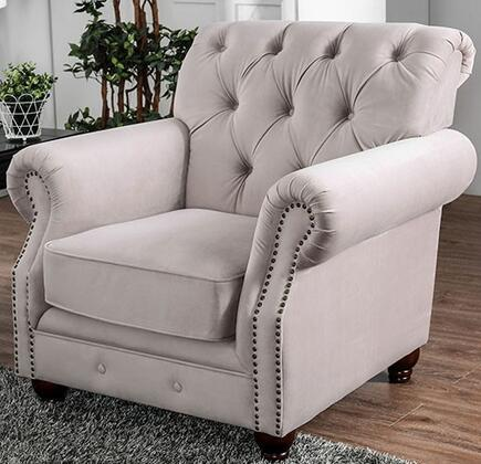 Tamika CM6577-CH Chair with Button Tufting  Nail Head Accents and Flannelette Upholstery in