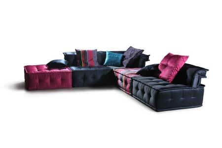 "Versus Chloe Collection VGDVLS103DA 112"""" 5-Piece Fabric Sectional Sofa with 2x Dark Blue Armless Chairs  1x Dark Blue Corner Chair  1x Purple Ottoman and 1x -  VIG Furniture"