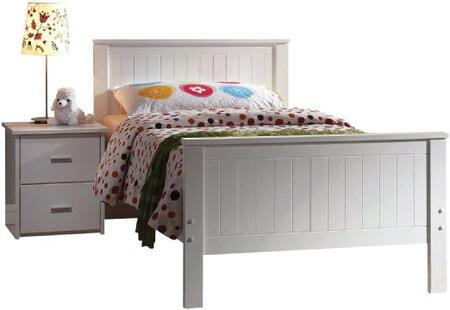 30025TN Bungalow Twin Size Panel Bed + Nightstand in White