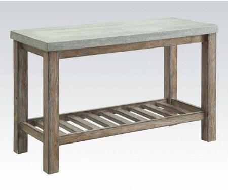 Parker Collection 81592 50 inch  Sofa Table with Concrete Top  Slatted Bottom Shelf and Wood Construction in Frosted Grey and Salvage Oak