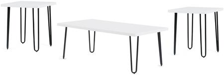 T1661C2E 3-Piece Living Room Table Set with Coffee Table and 2 End Tables in White and
