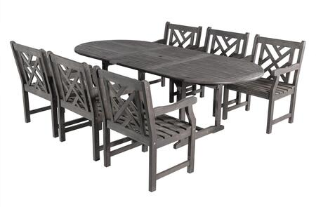 V1296set10 Renaissance Eco-friendly 7-piece Outdoor Hand-scraped Hardwood Dining Set With Oval Extention Table And Arm
