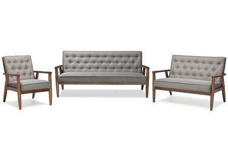 BBT8013-GREY 3PC SET Baxton Studio Sorrento Mid-century Retro Modern Grey Fabric Upholstered Wooden 3 Piece Living room