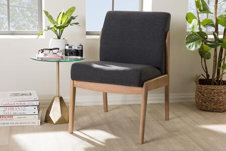 BBT5270-DARK GREY Baxton Studio Wera Mid-Century Retro Modern Dark Grey Fabric Slipper Lounge