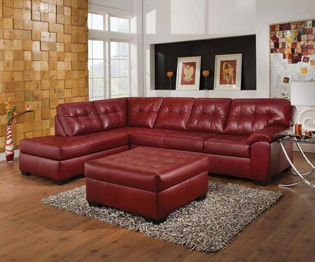 Shi 50442SO 2 PC Living Room Set with Sectional Sofa + Ottoman in Soho Cardinal