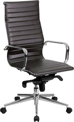 BT-9826H-BRN-GG High Back Brown Ribbed Upholstered Leather Executive Office