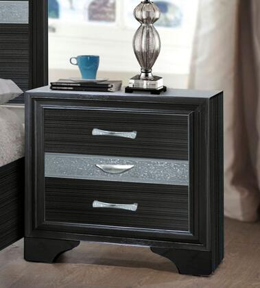 Naima Collection 25903 26 inch  Nightstand with 3 Drawers  Silver Metal Hardware  Light Grey Acrylic Trim  Rubberwood and Chipboard Materials in Black