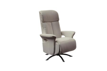 RL1453GRY Nora Recliner Armchair  Gray Leather Manual Relax Function With Adjustable Headreast. Metal Brushed