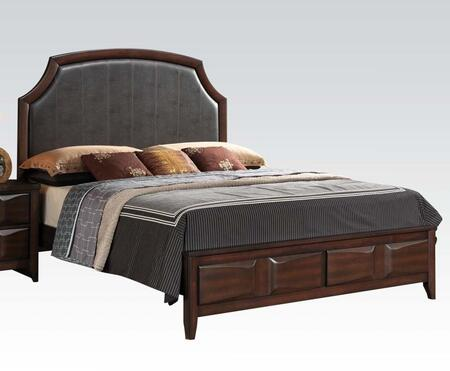 Lancaster Collection 24570Q Queen Size Bed with PU Leather Upholstery  Beveled Shaped Accents  Low Profile Footboard  Rubberwood and Tropical Wood Construction