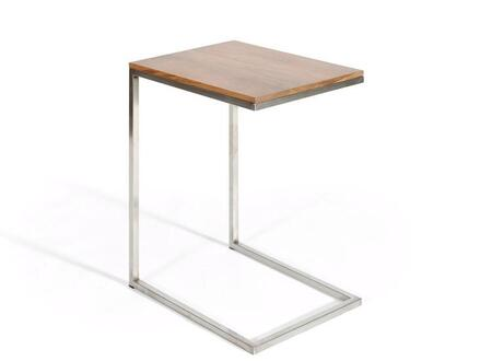 Soho Collection SOHO-LPT-NW 19 inch  Laptop Table with Walnut Wood Top and Brushed Stainless Steel Base in Natural