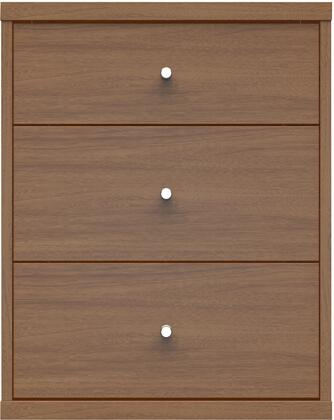 """Astor 2.0 Collection 72151 18"""" Nightstand 3 Full Extension Drawers  Round Metal Drawers Knobs and Closed Base in Maple"""