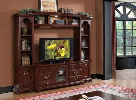 Hercules 91110ENT 4-Piece Entertainment Center with TV Stand  Left Pier  Right Pier and Bridge in Cherry