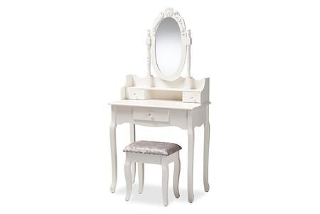 WF18-White-Vanity Baxton Studio Veronique Traditional French Provincial White Finished Wood 2-Piece Vanity Table with Mirror and