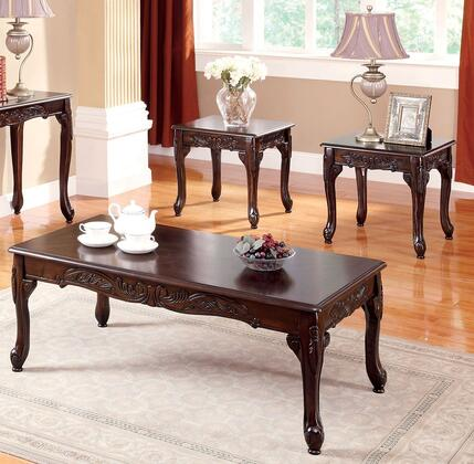 Cheshire Collection CM4914-3PK 3-Piece Living Room Table Set with Coffee Table and 2 End Tables in Dark