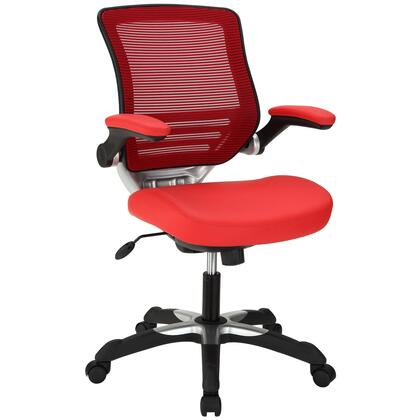 Edge Collection EEI-595-RED Office Chair with Adjustable Seat Height  Flip-Up Arms  Casters  Tilt Tension Control  Mesh Backrest  Sponge Seat and Vinyl Seat