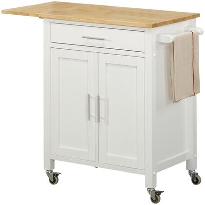 73427 37 inch  Vermont Kitchen Cart with Natural Wood Top  Drop Leaf and Industrial-Grade Locking Casters in