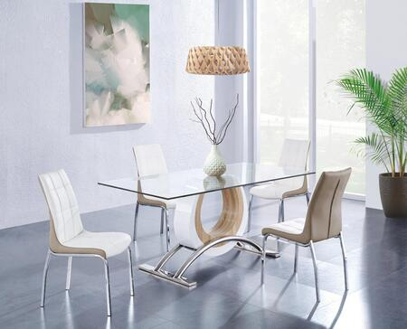 D4202DT4D16012DC 5-Piece Dining Room Set with Dining Table and 4 Dining Chairs in White and