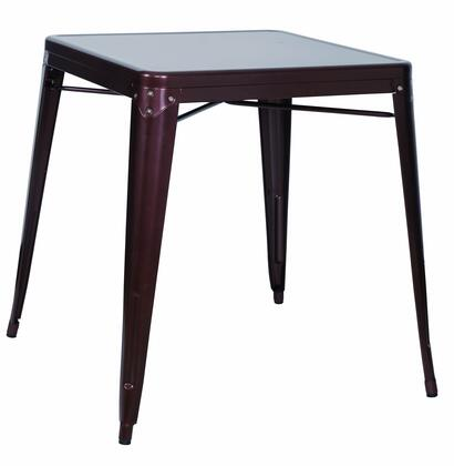 8029-DT-COP Galvanized Steel Dining Table in Red
