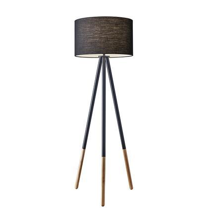 6285-01 Louise Floor Lamp  Black Painted Metal with Wood Tips