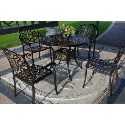 NU2051GB Royal Isle 5-Piece Dining Set with Table and 4 Chairs in Golden Bronze